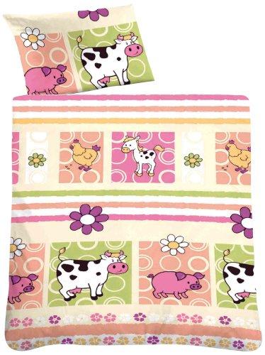 biberna 0027212 Soft-Seersucker Bettwäsche Kids & Teens Garnitur mit Kopfkissenbezug (Baumwolle) 1x 100x135 cm + 1x 40x60 cm, pink