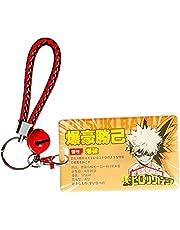 Cluis Anime My Hero Academia ID - Porta badge con bracciale in pelle e portachiavi per tessere, in acrilico Bakugou Katsuki