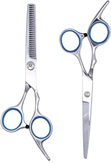 Etereauty Hair Cutting Scissors Set, Professional Barber Thinning Haircut Scissors Kit Stainless Steel with Detachable Fin...