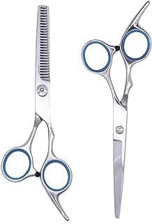 Etereauty Hair Cutting Scissors Set, Professional Barber Thinning Haircut Scissors Kit Stainless Steel with Detachable Finger Inserts Salon Razor Scissor