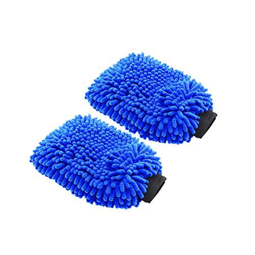 GZLMMY 2er Mikrofaser Autowaschhandschuh - Waschhandschuh aus Chenille mit ultrafeiner Faser - weicher Netzrücken ohne Kratzer für die Autowäsche (Blau - 2er Pack)