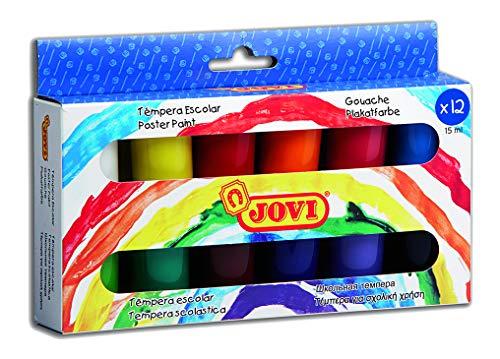 Jovi - Estuche témpera, 12 botes de 15 ml, colore surtidos (521)