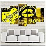 YYZCM 5 lienzos Lienzo Arte de la pared Imágenes Sala de estar Decoración para el hogar 5 Piezas Música rock Amarillo Guitarra Labios Pintura Modular HD Impresiones Cartel Marco