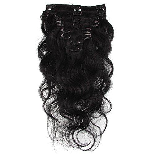 Beauty7 Extension de Cheveux a Clips Ondule Naturel Remy Humain Cheveux Boucle Body Wave 8 Pcs/Poids 120g 20inch (50cm) Couleur Noir #1