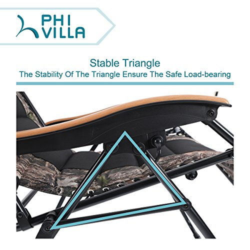 PHI-VILLA-Oversize-XL-Padded-Zero-Gravity-Lounge-Chair-Wooden-Armrest-Adjustable-Recliner-with-Cup-Holder