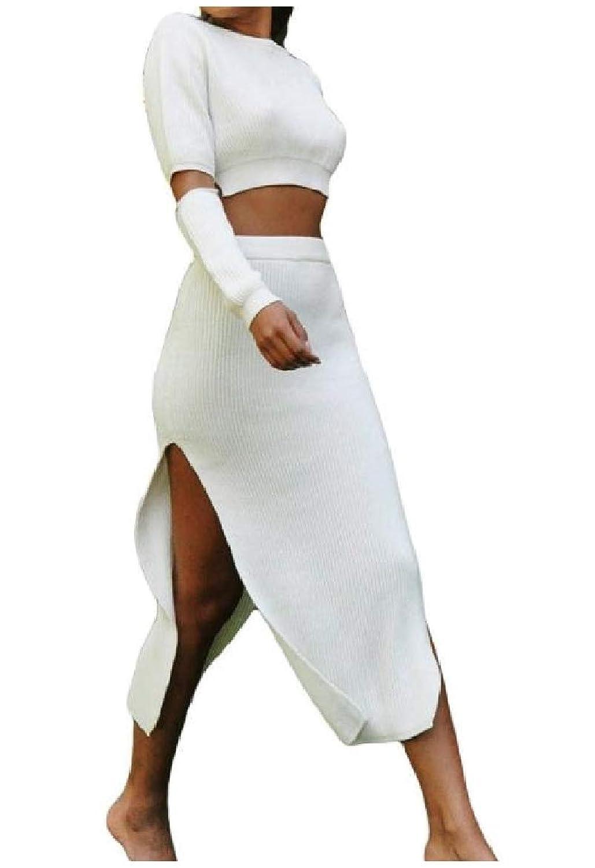 sayahe 女性2片側は、不規則な純粋な色長いそでスカート服装を分けました