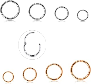 5-8 Pcs a Set 316L Stainless Steel Septum Piercing Nose Hoop Clicker Ring Hypoallergenic 16G