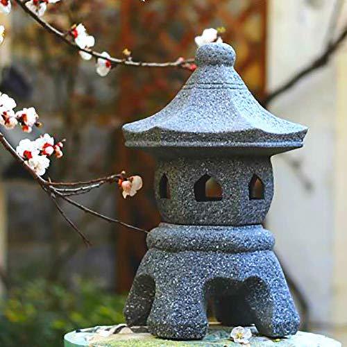 Uziqueif Japanische Laterne Frostschutz-Gusssteinpagode Japanische Art-Garten-Lampe Steinlaterne, Tachi-Gata-Pagode Gartenlaterne Steineffekt Skulptur-Garten-Dekoration Statue,49cm
