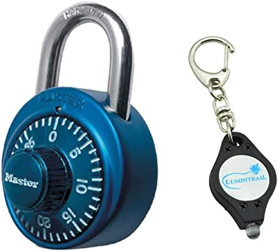 Master Lock 1530DCM Padlock, Standard Dial Combination Lock, 1-7/8 in. Wide, Assorted Colors, Bundle with Lumintrail Keychain Light