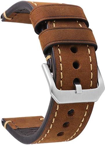 Correa de Reloj 20mm/22mm/24mm con Correa de Repuesto de Cuero para Hombres Repuesto Correa Hebilla De Acero Inoxidab...