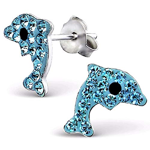 Monkimau Mädchen Ohrringe Delfin Ohrstecker aus 925 Sterling Silver echt Silber mit 32 Kristallen