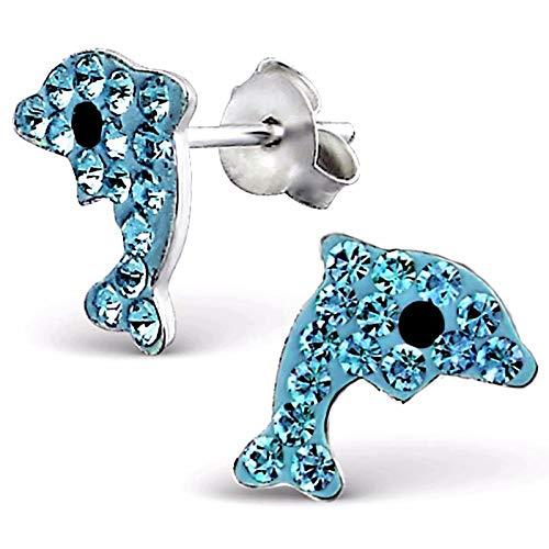 Monkimau Orecchini per bambina Orecchini a delfino in vero argento 925 con 32 cristalli