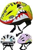 SkullCap Casque Vélo Enfant, Casque Motif Dinosaure, Casque Cycliste, pour Garçon Fille, Casque Skateboard Rollers Skate...