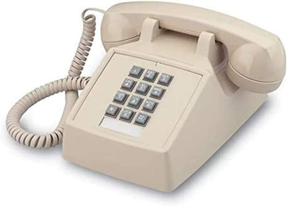 Single Line Classic 2500 Analog Desk Phone with Volume Control, Works on PBX, Handset and Line Cord, 2 Ports, Beige/Ash