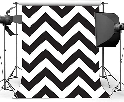NEW Vinyl 5X7FT Chevron Backdrop Black and White Stripes Wallpaper Backdrops 3D Creative Photography Background for Boys Girls Happy Birthday Party Personal Portraits Photo Studio Props 595