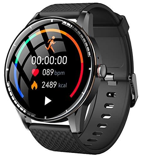 Smartwatch Herren Laufuhr mit Blutdruckmessung Sport Bluetooth Fitness Tracker Armband Pulsuhr Schrittzähler Uhr für Android IOS Kalorienzähler Wasserdicht
