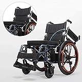 silla de ruedas Plegable Silla de ruedas eléctrica Ligero Portátil Confort extra Transpirable Seguro Médico Viaje Scooter para discapacitados y ancianos-Negro Cómodo