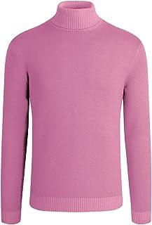 Suslo Couture Men's Cotton Stretch Solid Turtle Neck Sweater