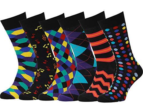 Easton Marlowe 6 Paar Bunt Gemusterte Herren Socken - 6pk 22, gemischt - neutrale Hauptfarben, 43-46 EU Schuhgröße