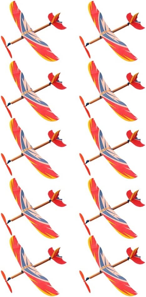 TOYANDONA Regular dealer 10Pcs Rapid rise Rubber Band Wrapped Airplane Individually Powere