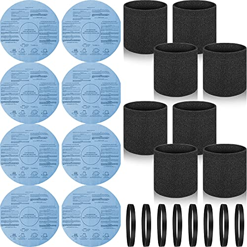 8 Packs 90585 90107 Foam Filter Sleeve and Reusable Dry Filter Disc 9010700 with Retaining Bands, VF2002 Dry Disc Filter Compatible with Shop-Vac Cleaners Part #9010700, 9013700