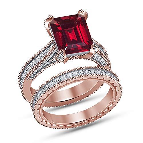 Vorra Fashion Unisex Plata fina 925 plata de ley esmeralda redonda Red White Granate sintético