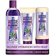 Aussie Blonde Hydration Purple shampoo, Hair Conditioner and 3 Minute Miracle Hair Mask Set. A Shampoo and Conditioner Set That Neutralises Brassy and Yellow Tones for Hydrated Blonde and Silver Hair