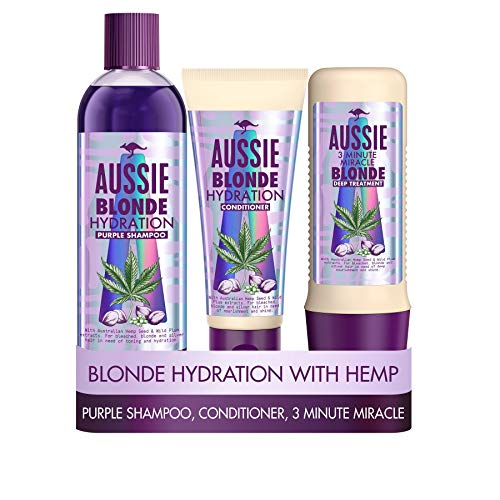 Aussie Blonde Hydration Purple shampoo, Hair Conditioner and 3 Minute Miracle Hair Mask Set. A...