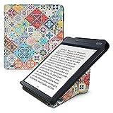 kwmobile Funda Compatible con Kobo Libra H2O - Carcasa magnética de Origami para e-Book - Azulejos Azul/Rojo/marrón Claro