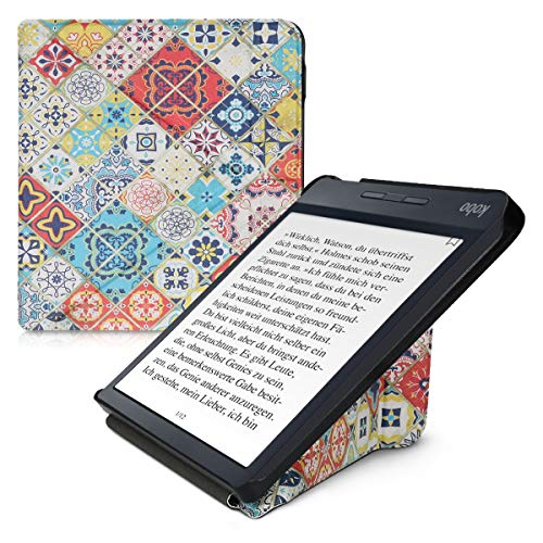 kwmobile Origami Case Compatible with Kobo Libra H2O - Slim Premium PU Leather Cover with Stand - Moroccan Vibes in Multicolor Blue/Red/Light Brown
