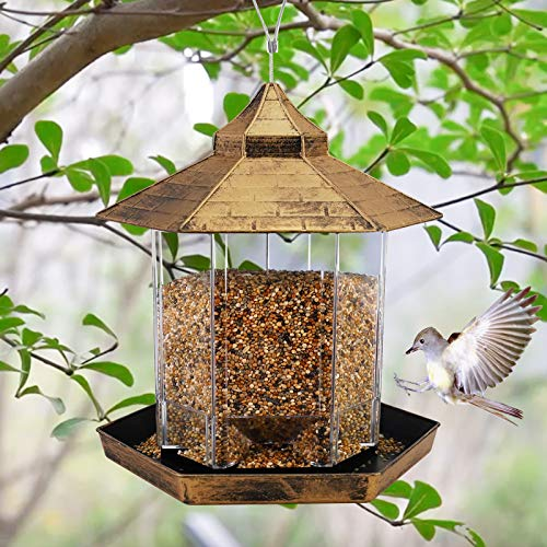 Hanging Wild Bird Feeder Gazebo Birdfeeder Outside Decoration, Perfect for Attracting Birds on Outdoor Garden Yard for Bird Lover Kids, 2.6lb Capacity Hexagon Shaped with Roof Avoid Weather and Water