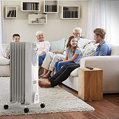 White Cart Saving Boiler Column 3 Heat Adaptable Thermostat Overheat Protection Wide Bottom Temperature, Timer Remote Control 7 Fin Oil Filled Radiator Fire Pit Electronic Area Heater