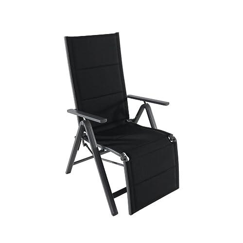 greemotion Chaise relax de jardin Grenada – Chaise longue de jardin avec dossier réglable – Fauteuil multiposition noir – Bain de soleil ajustable – Transat inclinable avec accoudoir et repose pied