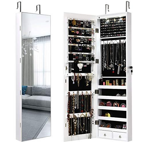 Giantex Schmuckschrank mit LED, Schmuckregal Schmuckkommode mit Ganzkörperspiegel, abschließbarer Spiegelschrank Wandschrank für Ketten, Ohrringe, an der Tür hängend (weiß)