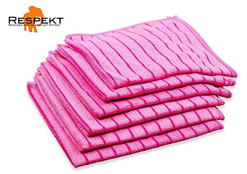 RESPEKT Mikrofaser Geschirrtücher, Trockentücher, Poliertücher, Putztücher und Reinigungstücher für den Haushalt, das Auto UVM. - Mikrofaser Geschirrtücher Set, 40x40 cm (Pink, 6tlg.)