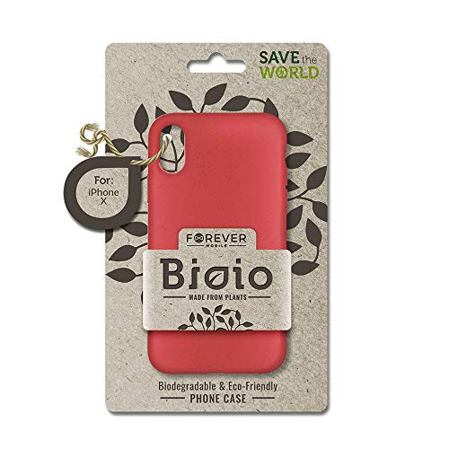 FOREVER Hülle Kompatibel mit iPhone X/XS, Schutzhülle aus Biologisch Abbaubar Materialien, Bio Case Anti-Kratz, Stoßfestes Bumper, Umweltfreundliche Handyhülle, Rückseite Cover (Rot)