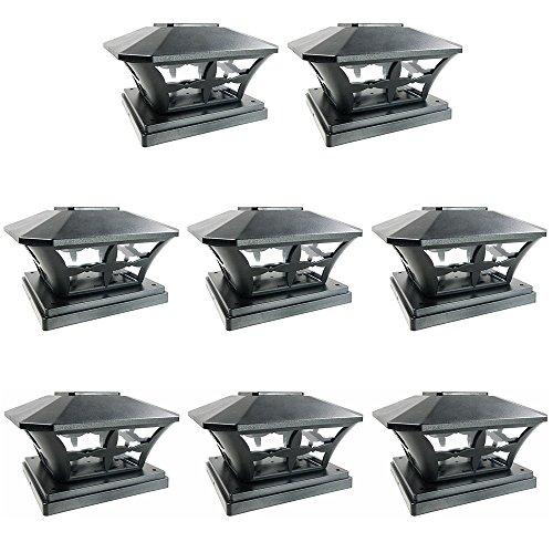 iGlow 8 Pack Black Outdoor Garden 6 x 6 Solar SMD LED Post Deck Cap Square Fence Light Landscape Lamp PVC Vinyl Wood