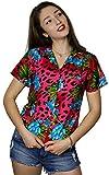 King Kameha Camisa hawaiana de manga corta para mujer, con bolsillo frontal, estampado hawaiano, estampado de leopardo...