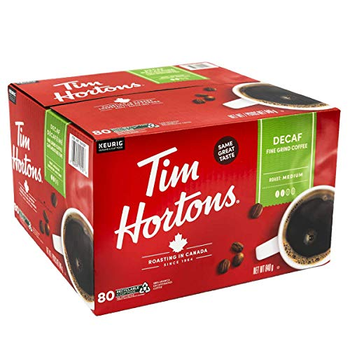 Tim Hortons Single-serve Decaf 80 K-Cup Pods, 840g/29.6oz {Imported from Canada}
