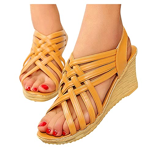Aniywn Women's Wedge Sandals Ankle Strap Slingback Sandals Peep Toe Cutout Platform Wedges Sandals Breathable Casual Shoes Brown