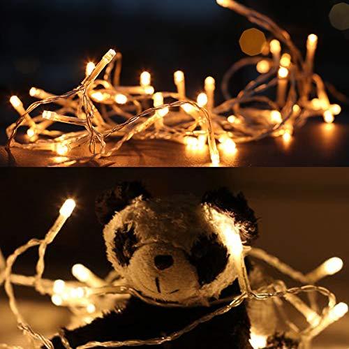 Salcar kerstverlichting 10m 100 tuin kerstketting decoratie met transparante kabel, 31V schakelaar LED-verlichting met 8 standen binnen en buiten achterlichten - warm wit
