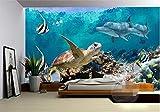 Wemall Fototapete Vliestapete 3 d Meerestapete Schildkröte TV-Einstellung Fototapete für Wände 3 d, 350x245 cm (137.8 by 96.5 in)