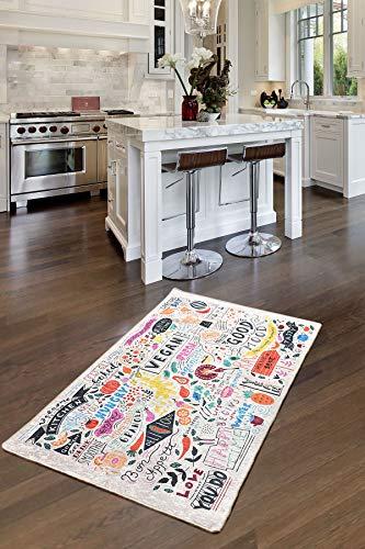 Creative Home Teppich | Küchen-Teppich, Wohnzimmer Teppich Motiv Vegan | Kitchen | Küche | Waschbarer Teppich | Größe 80x150 cm