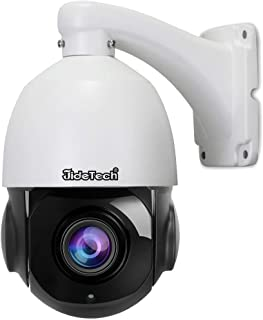 High Speed 5MP H.265 PTZ POE IP Security Dome Camera with 20X Optical Zoom Built in Two Way Audio Waterproof IR-Cut Night Vision Support SD Card for Indoor and Outdoor Security Surveillance