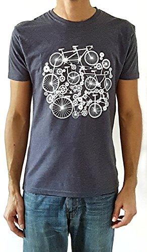 Camiseta de hombre Bicicletas - Color Azul Denim Heather - Talla L - Regalo para hombre - Cumpleanos - Regalo reyes