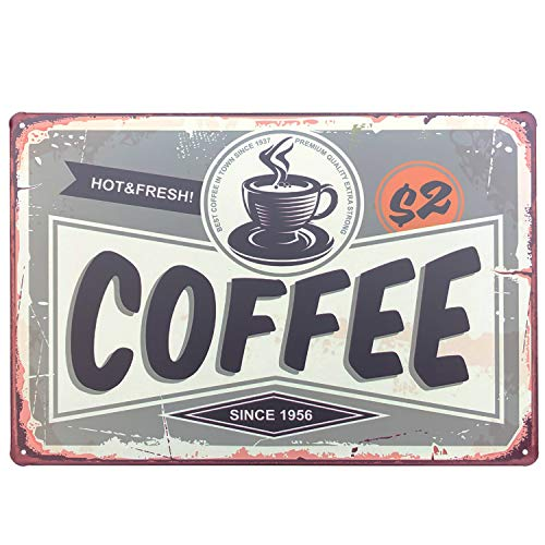 UNIQUELOVER Metal Coffee Sign, Hot & Fresh Coffee Best Coffee in Town Vintage Retro Kitchen Metal Plaque Poster for Cafe Bar Pub Beer Club Home Wall Decor Art 12 x 8 Inches /30 x 20cm
