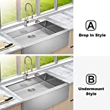 Lordear 33 inch Farmhouse Sink Apron Front 16 Gauge Stainless Steel Tight Radius Deep Single Bowl Farm Kitchen Sinks