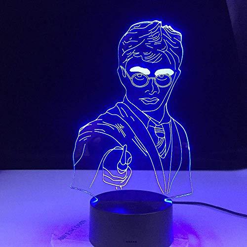 Hogwarts Magic School Emblem logo 3D illusion LED night light humor lámpara de escritorio decoración del hogar niños ventiladores de películas juguete de regalo
