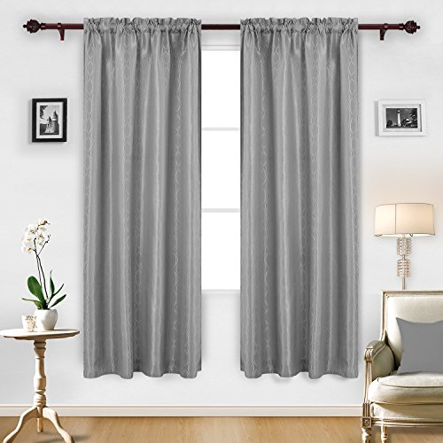 Deconovo Jacquard Luxurious Pattern Curtains with Rod Pocket Window Panels for Kids Room, 52X84Inch, Grey-Wave