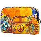 Bolsa de brochas de maquillaje personalizable, bolsa de aseo portátil para mujeres, bolso cosmético, organizador de viaje, hippie, vintage, coche, mini furgoneta